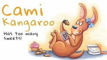 A story about a little kangaroo who loves to eat sweets